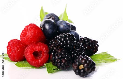 Fotografia, Obraz  Fresh forest berries over white background