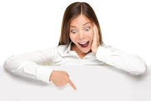 Advertising Banner Sign - Woman Excited