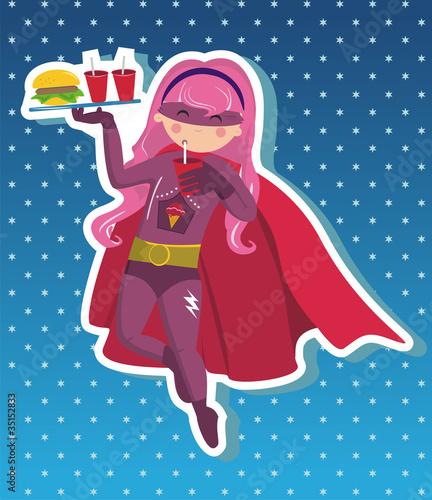 Autocollant pour porte Super heros Superhero girl cartoon.