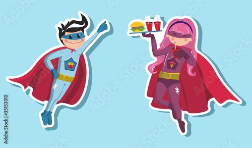 Staande foto Superheroes Superhero boys illustration