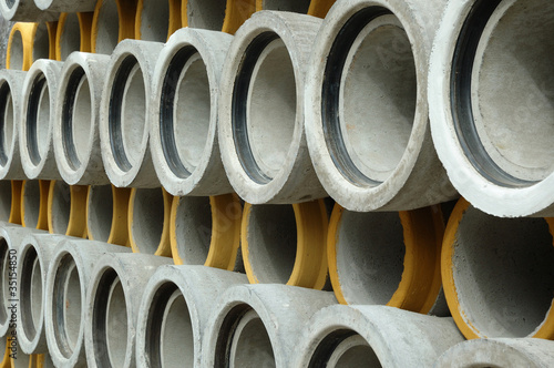 Valokuva  Concrete sewer pipe warehouse