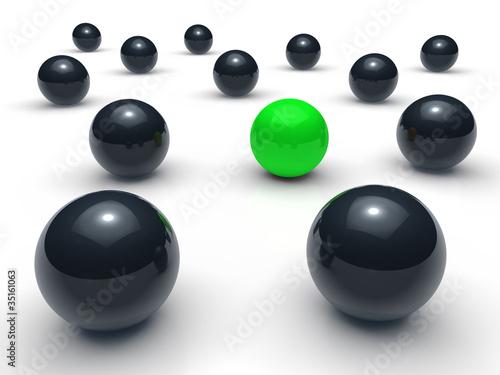 3d ball network green black