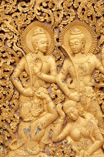 Fotografie, Obraz  antikes buddhistisches Relief