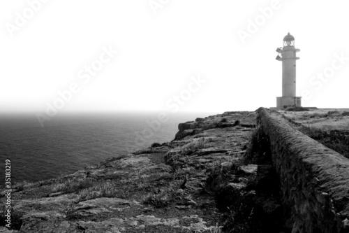 black and white Barbaria cape lighthouse Formentera