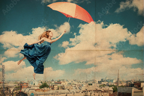 Keuken foto achterwand Vlinders in Grunge art collage with beautiful young woman with umbrella