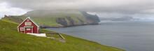 Red Farmhouse On Coast Of Mykines, Faroe Islands