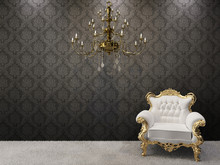 Royal Interior. Golden Chandelier With Luxurious Armchairs On Bl