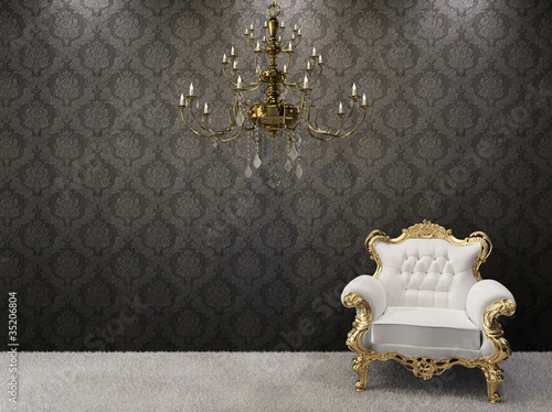 Fotografía Royal interior. Golden chandelier with luxurious armchairs on bl