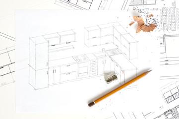 Sketch of kitchen furniture