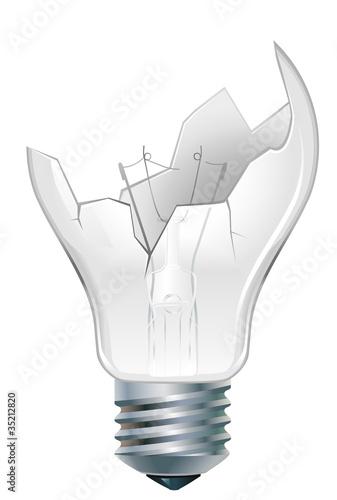 Photo  broken-down  light bulb