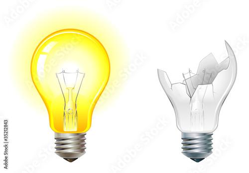 glowing and broken down light bulbs Canvas Print