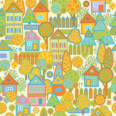 Seamless pattern of town.