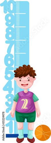 Poster Echelle de hauteur Boy with height scale