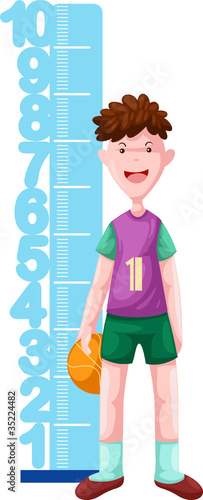 Poster de jardin Echelle de hauteur boy with height scale