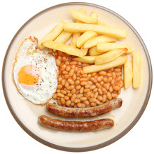 Sausages, Egg, Chips And Beans