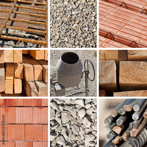 Valokuva  Construction materials collage