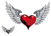 Retro Color Heart Tattoo