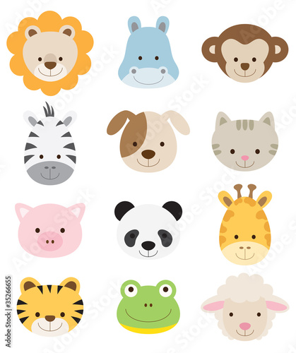 Fotobehang Zoo Baby Animal Faces Set