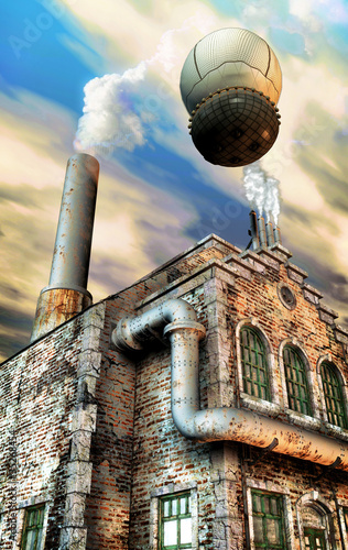 Fotografie, Obraz steampunk factory and hot air baloon