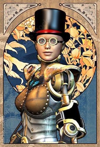 Fotografie, Obraz steampunk robot girl