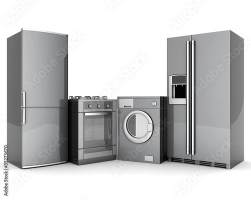 picture of household appliances on a white background Canvas Print