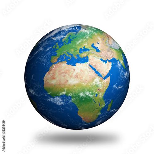 Fotografie, Obraz  Izolované Planeta Země ukazuje Evropu a Afriku
