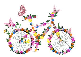 Fototapetabike with flowers