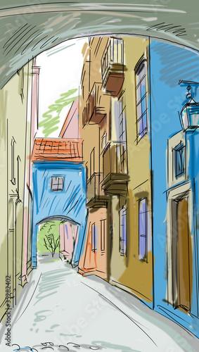 Foto auf AluDibond Gezeichnet Straßenkaffee old town - illustration
