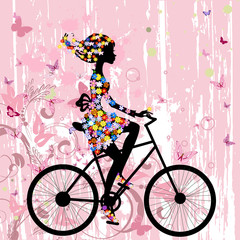 Fototapeta Girl on bike grunge romantic
