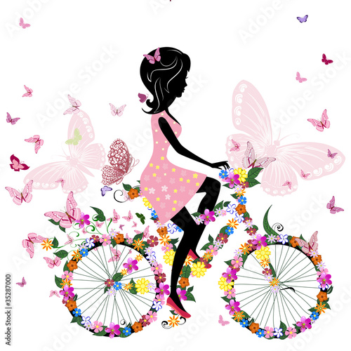Poster Bloemen vrouw Girl on a bicycle with a romantic butterflies