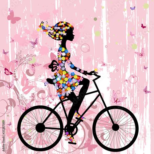 Girl on bike grunge romantic - 35287089