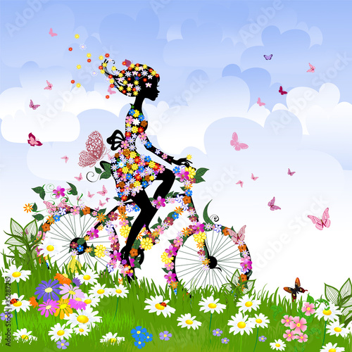 Poster Bloemen vrouw Girl on bike outdoors in summer