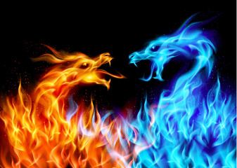 Blue and red fire Dragons