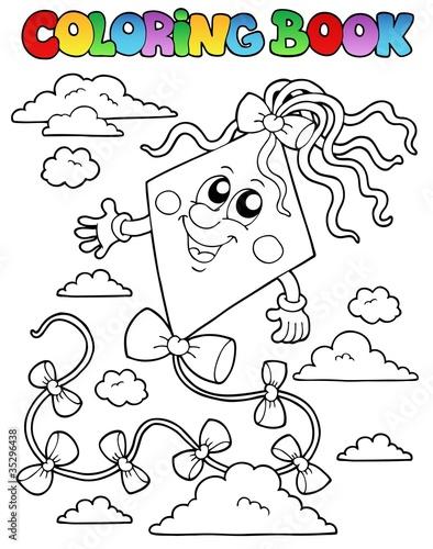 Tuinposter Doe het zelf Coloring book with kite 1