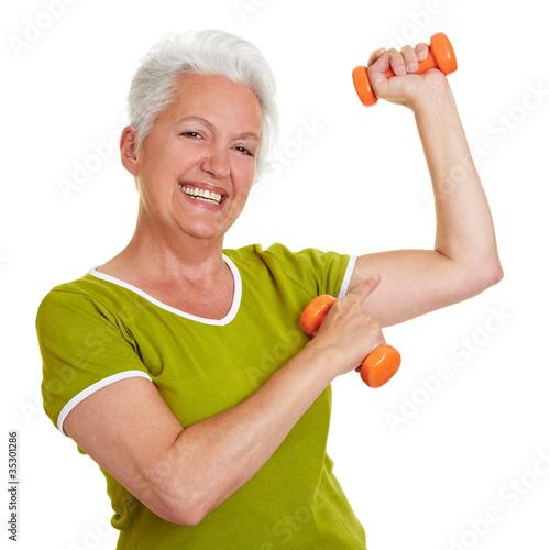 Foto-Stoff bedruckt - Seniorin zeigt ihre Muskeln (von Robert Kneschke)