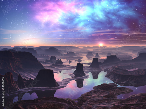 Photo  Gaseous Aurora over Mountainous Alien Landscape