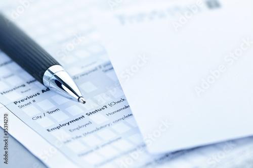Fotografía  Financial application form