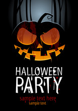 Halloween Party Design Template, With Pumpkin And Place For Text