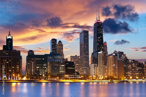 Deurstickers Chicago Chicago Skyline