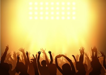 Crowd dancing on a party - background illustration