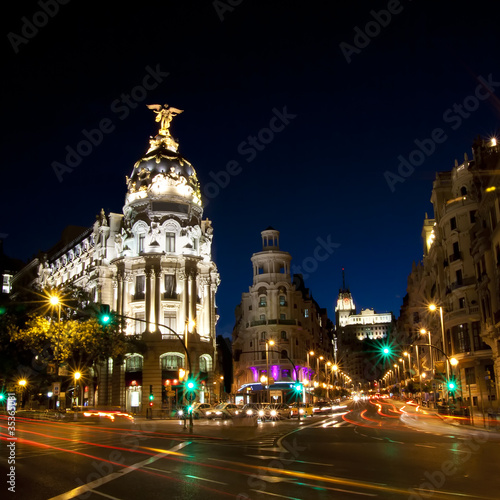 Poster Madrid Gran via street in Madrid, Spain