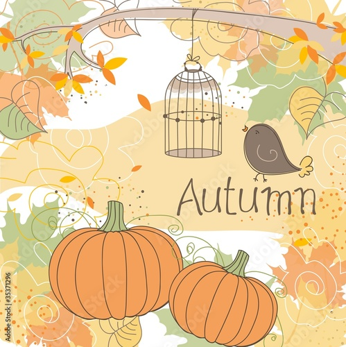 Poster Birds in cages Autumn background, vector