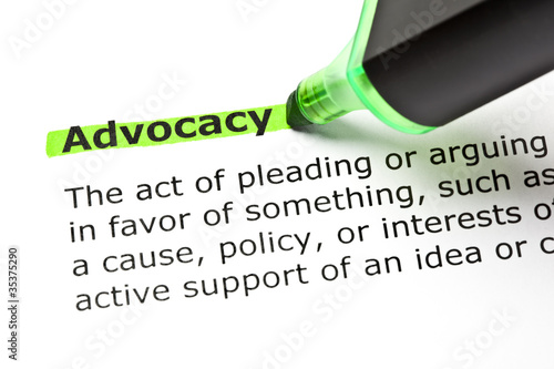 Dictionary definition of the word Advocacy highlighted in green Canvas Print