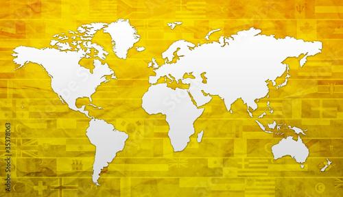 Poster Carte du monde planisphère - carte du globe - continents et pays du monde