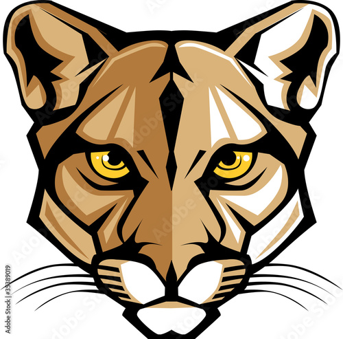 Cougar Panther Mascot Head Vector Graphic Wall mural
