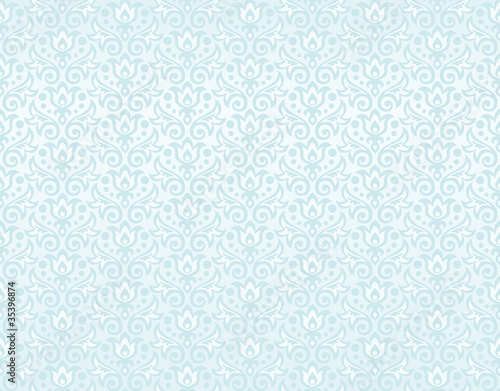 seamless pattern of blue flowers and leaves © anastasia_art