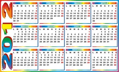 Calendario Rainbow.2012 Calendario Arcobaleno Rainbow Calendar Vector Buy