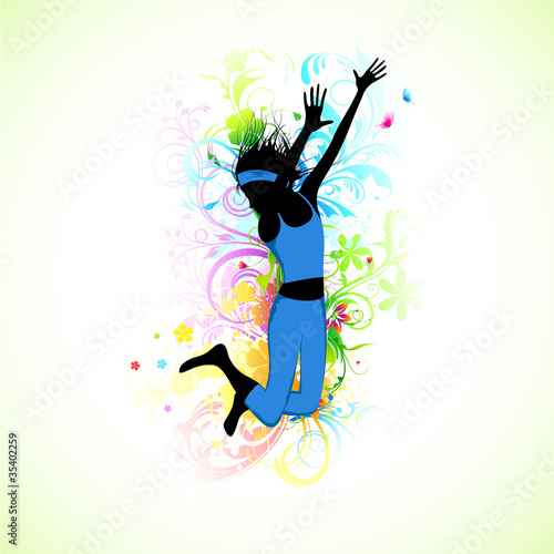 Poster Bloemen vrouw Female Dancer