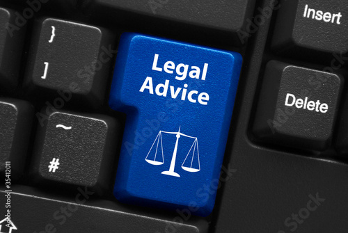 "Fotografie, Obraz  ""LEGAL ADVICE"" key on keyboard (scales of justice law)"