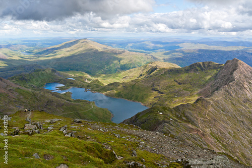 Canvas Print Mountain view from the Snowdon summit, Snowdonia, Wales